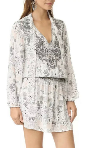 PARKER NY amazing Silvia Print Embroidered Silk Dress Size M BNWT $500