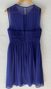 (Preloved) JIGSAW stunning amazing Royal Blue Detailed A Line Silk Dress Size 12