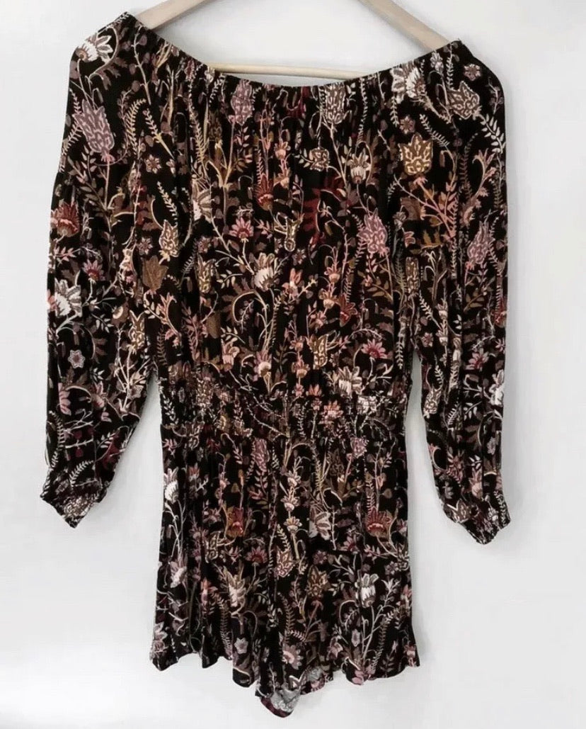(Preloved) FREE PEOPLE Divine Floral Pretty & Free Boho Off Shoulder Playsuit Size S