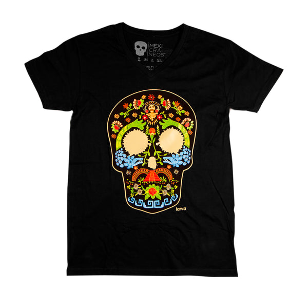 playera negra con estampado creneo de colores