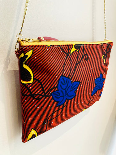African Ankara Red Floral Print & Leather Crossbody