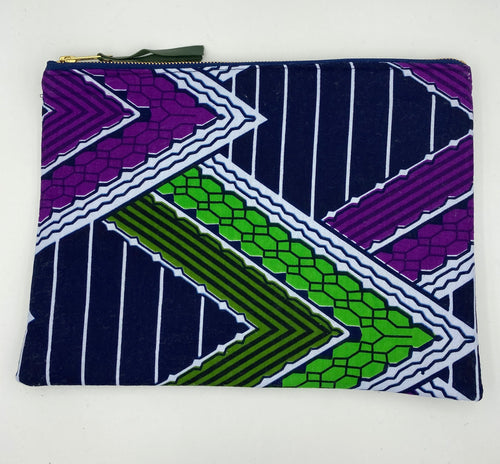 Clutch for Justice - African Ankara Purple & Olive Green Abstract Print Mask & Clutch Set