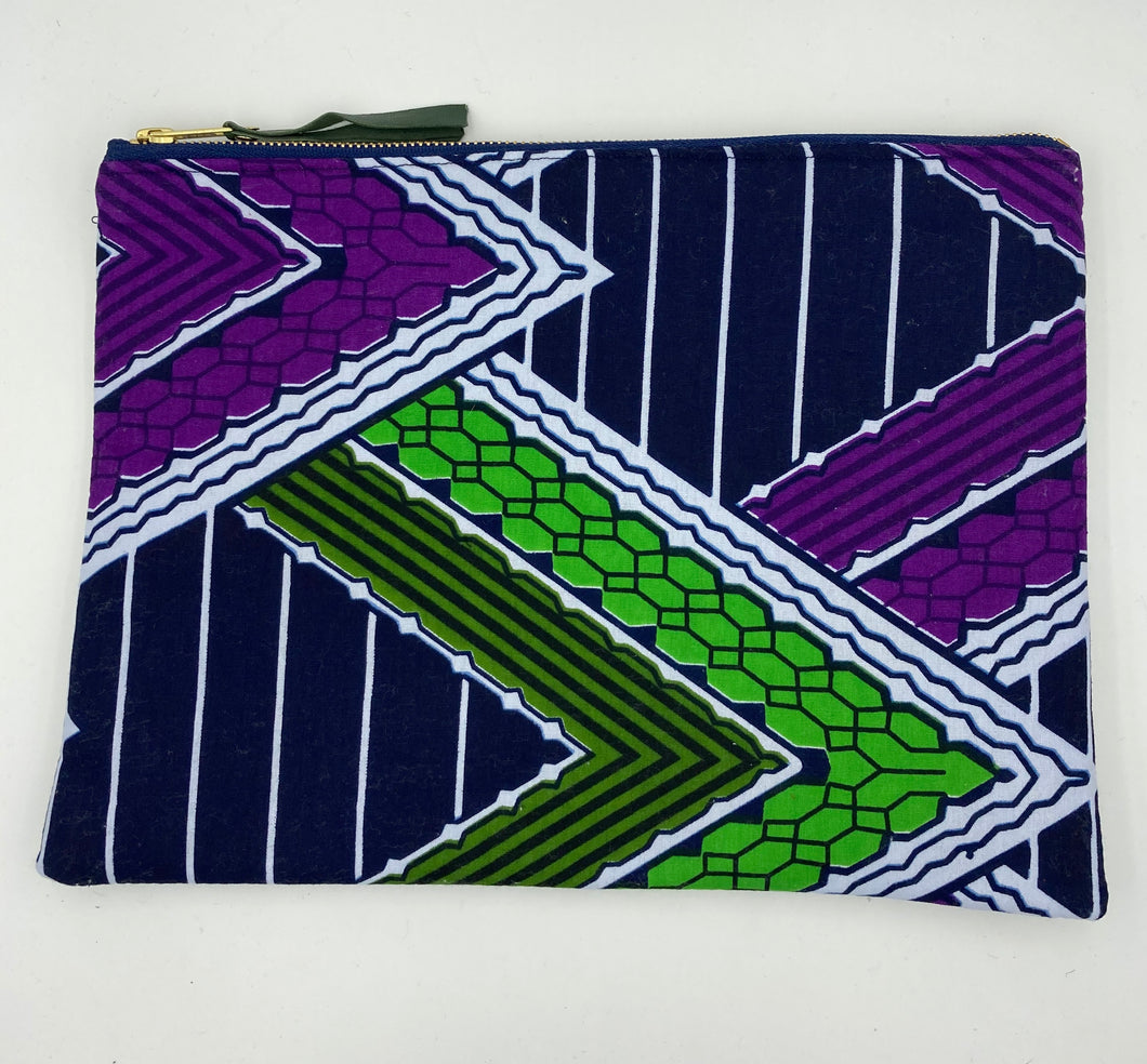 African Ankara Purple & Olive Green Abstract Print & Leather Clutch