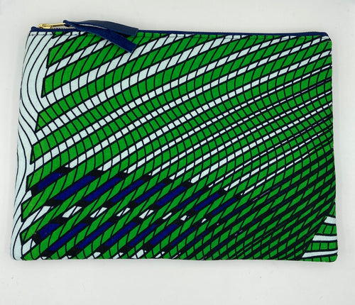African Ankara Green Wave Pattern & Leather Clutch