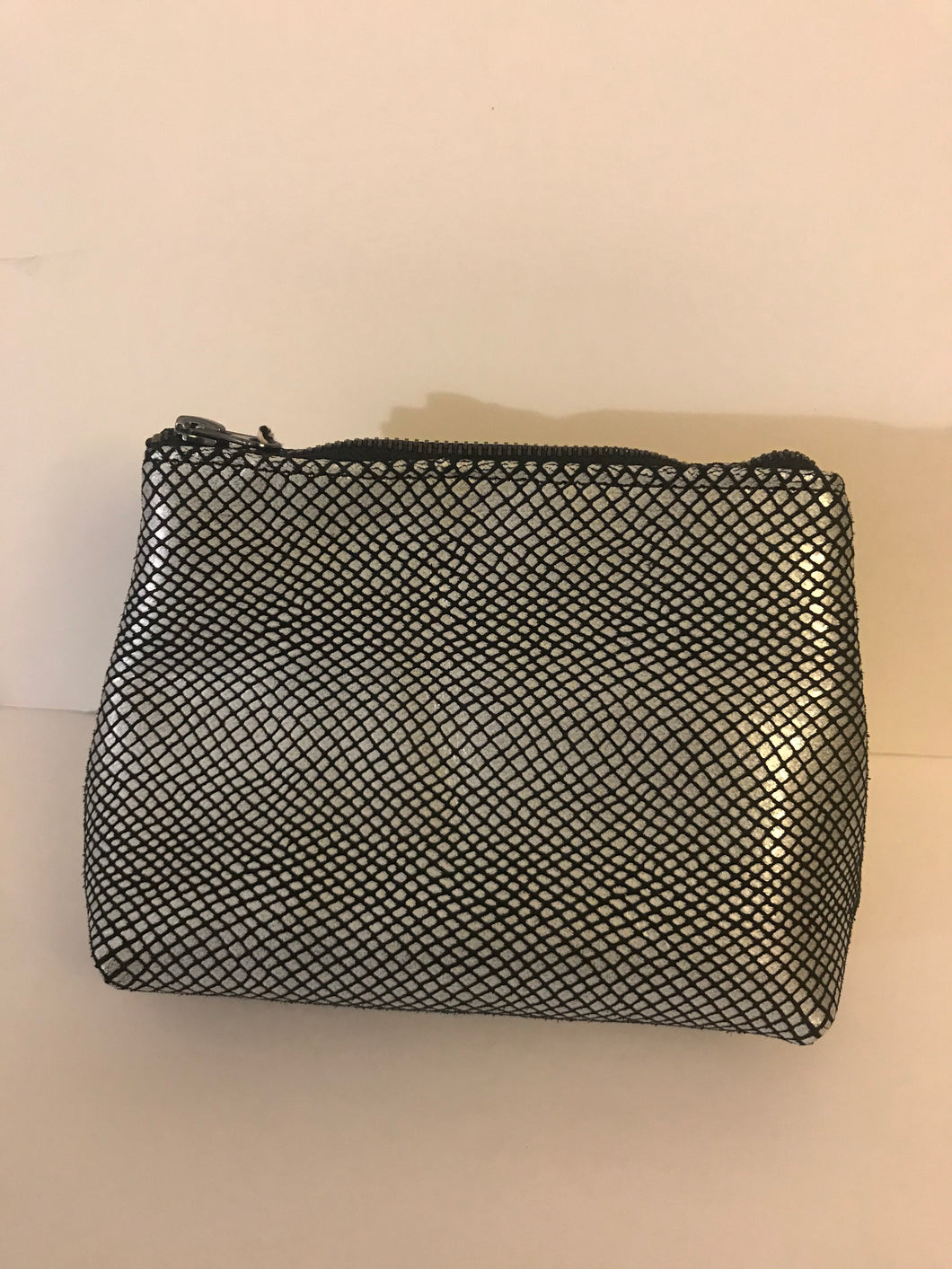 Black & Silver Leather Cosmetic Case