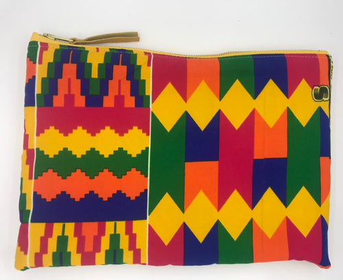 African Ankara Bright Kente & Leather Clutch