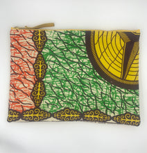Load image into Gallery viewer, African Ankara Green & Orange Print & Leather Clutch