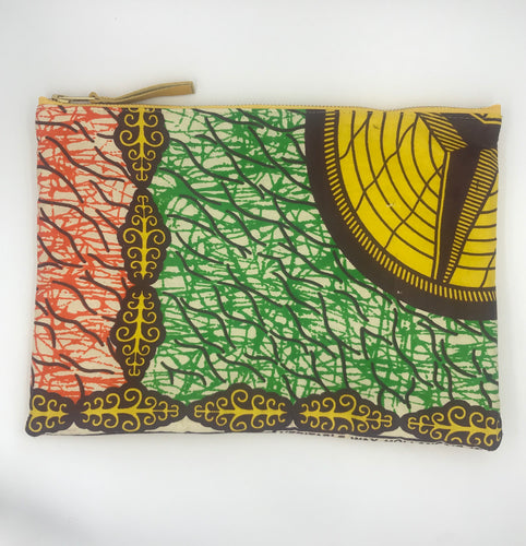 African Ankara Green & Orange Print & Leather Clutch