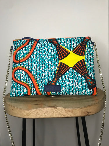 Clutch for Justice - African Ankara Teal Tassel Print Mask & Crossbody Set