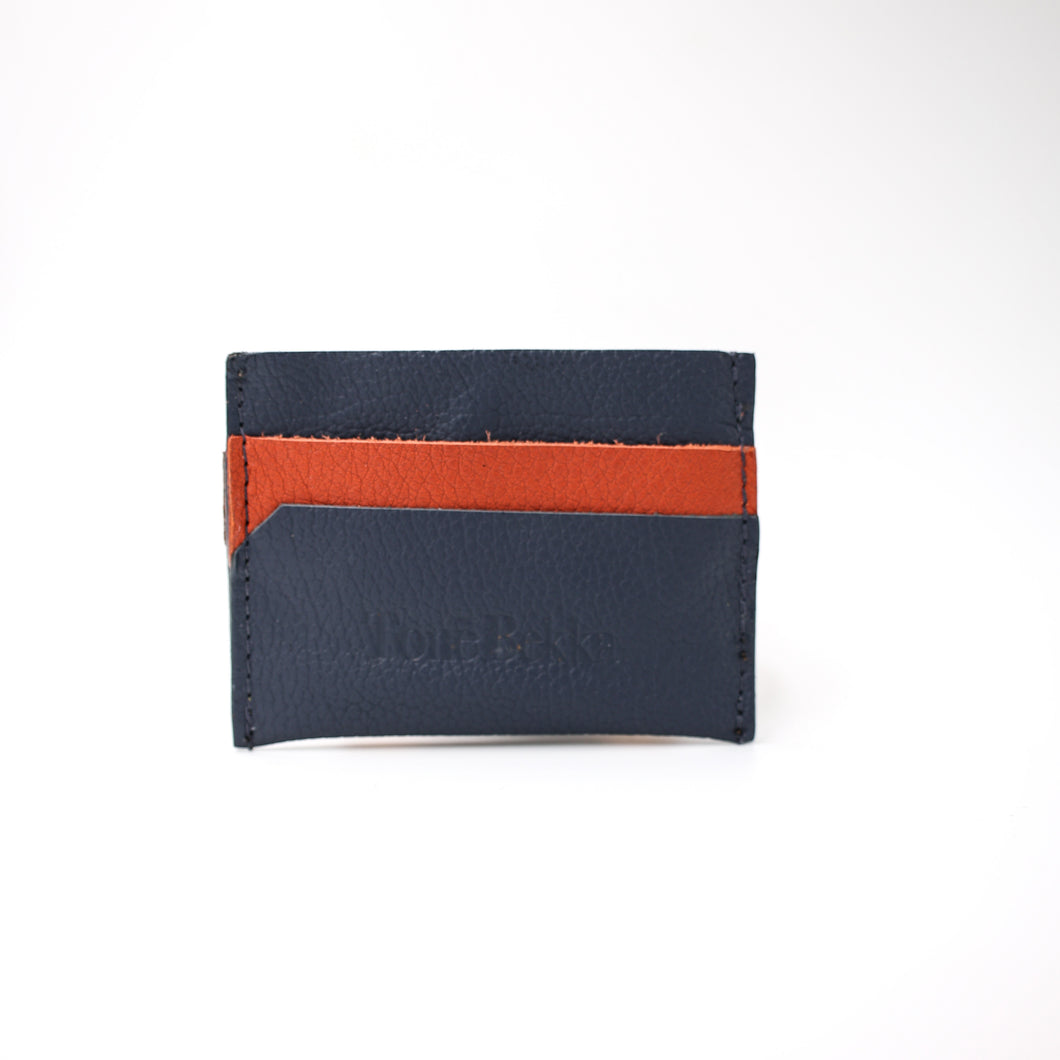 Navy & Clay Leather Card Holder