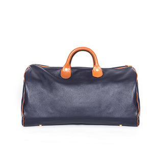 Navy Leather Overnighter