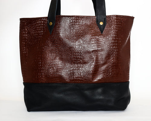 The Daily Croc Embossed Leather Tote