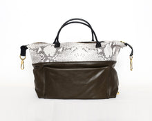 Load image into Gallery viewer, Olive Green & Snakeskin Carry-All Bag