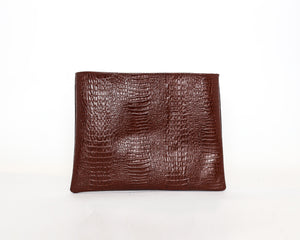 Brown Leather & Croc Skin Laptop Sleeve