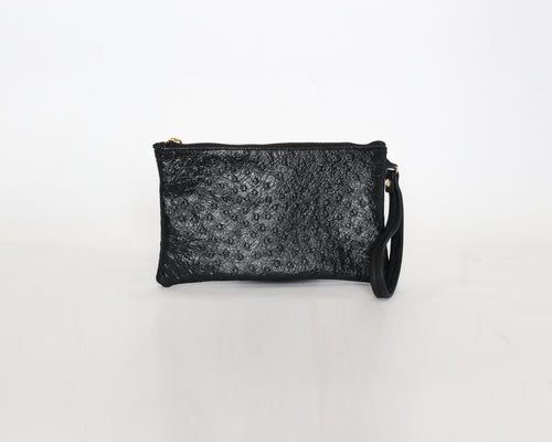 Ostrich Leather Wristlet