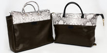 Load image into Gallery viewer, Olive Green & Snakeskin Embossed Leather Tote