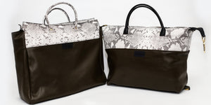 Olive Green & Snakeskin Embossed Leather Tote