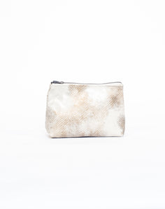 Cream Snakeskin Cosmetic Case