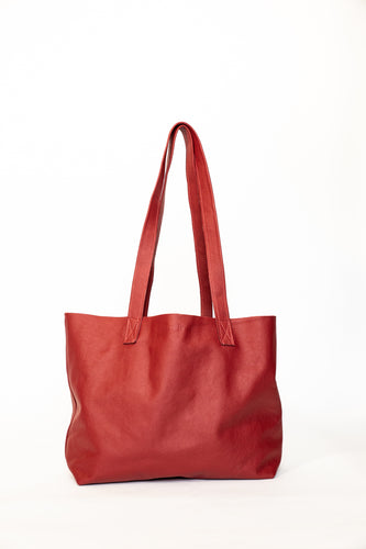 Red leather everyday tote - small