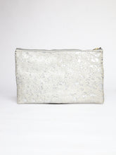 Load image into Gallery viewer, Acid Silver Calfhair and Navy Leather Clutch
