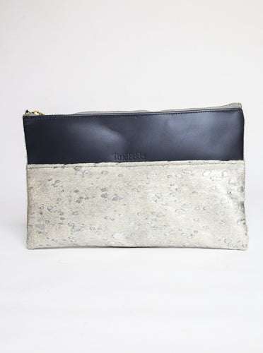 Acid Silver Calfhair and Navy Leather Clutch