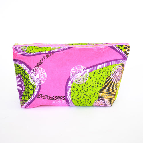 African Ankara Pink Chain Cosmetic Bag