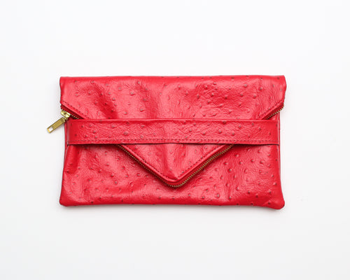 Foldover Leather Clutch