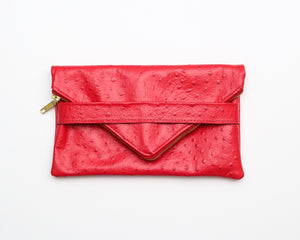 Ostrich Foldover Leather Clutch