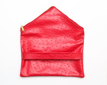 Load image into Gallery viewer, Ostrich Foldover Leather Clutch