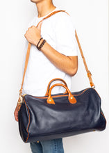 Load image into Gallery viewer, Navy Leather Overnighter