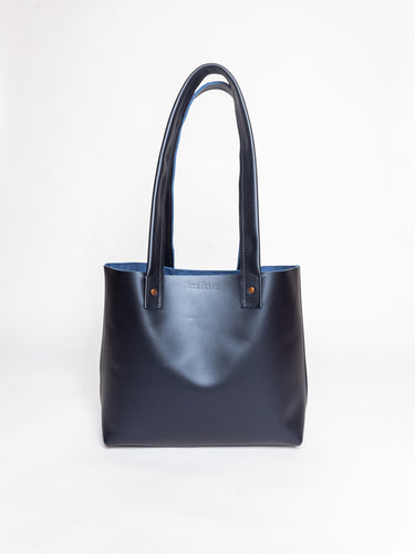 Everyday Pearl Navy Leather Tote