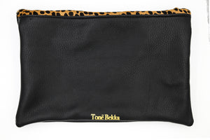 Cheetah Foldover Leather Clutch