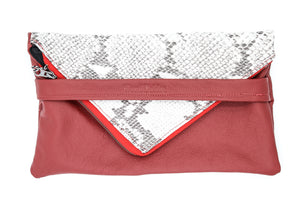Snakeskin Red Leather Foldover Clutch