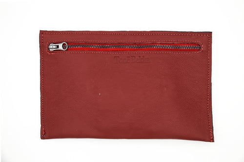 Red Leather Clutch Wallet