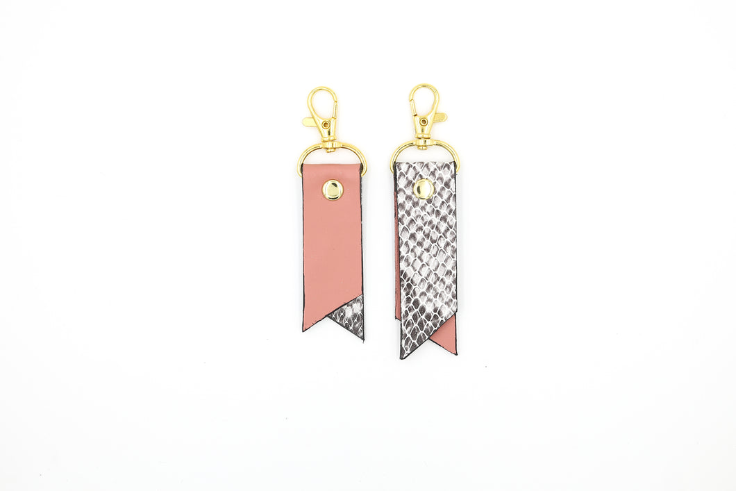 Printed Two-Tone Leather Key Rings