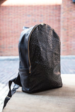 Load image into Gallery viewer, Black Ostrich Leather Backpack
