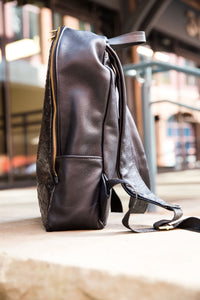 Black Ostrich Leather Backpack