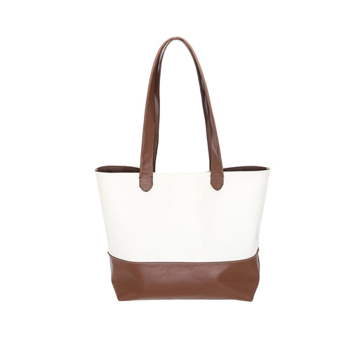 The Daily Cream and Cognac Leather Tote