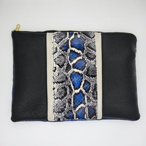 Cobalt Snake Inset Panel Clutch