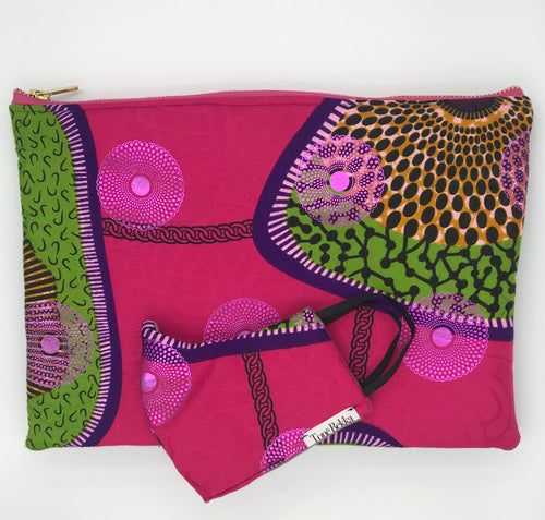 African Ankara Pink Chain Print & Leather Clutch