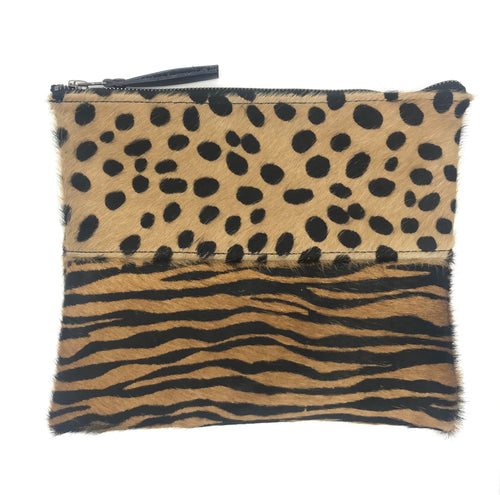Cheetah and tiger Calfhair Clutch