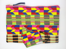 Load image into Gallery viewer, African Ankara Colorful Multi Print & Leather Clutch