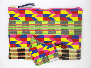 African Ankara Colorful Multi Print & Leather Clutch