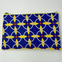 Load image into Gallery viewer, Sunburst Ankara and Yellow Leather Pouch