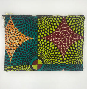 African Ankara Circle & Leather Clutch (Can add a chain strap)
