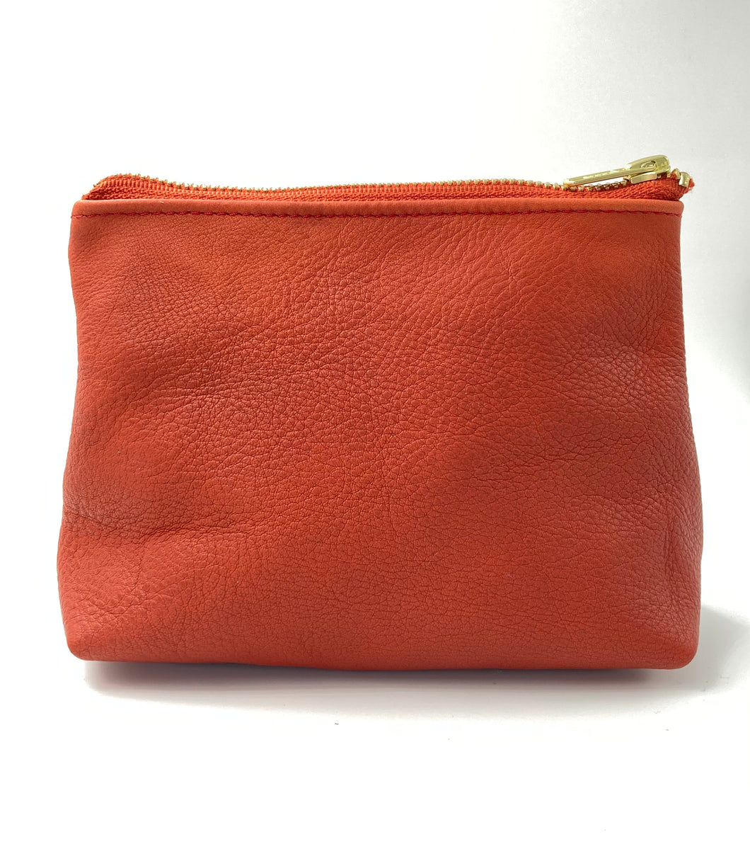 Clay Red Leather Cosmetic Case