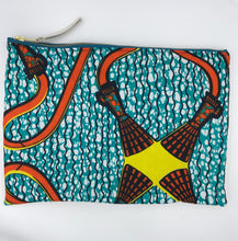 Load image into Gallery viewer, African Ankara Teal Tassel Print & Leather Clutch