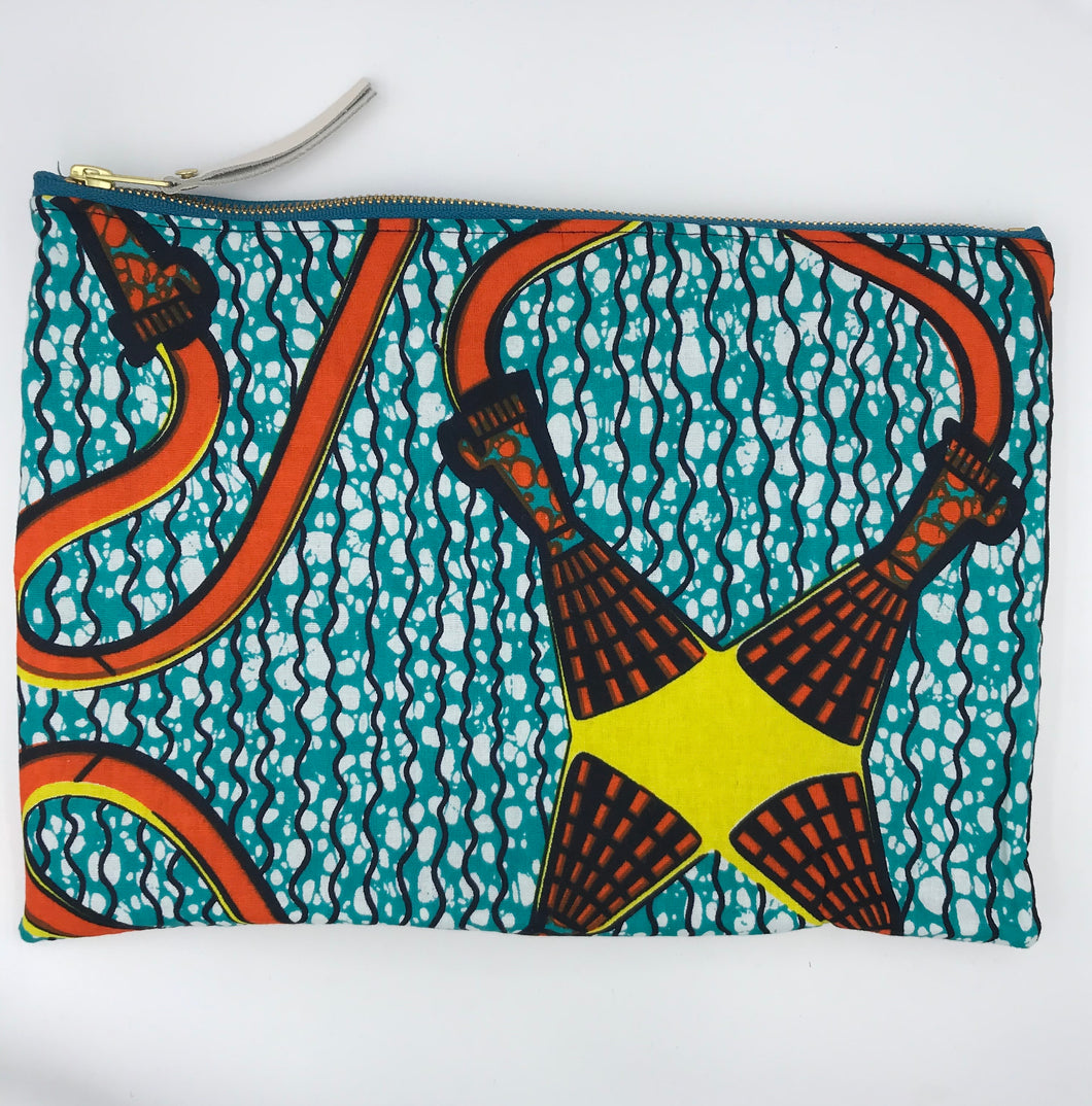 African Ankara Teal Tassel Print & Leather Clutch