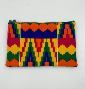 Bright Kente Ankara and Blue Leather Pouch