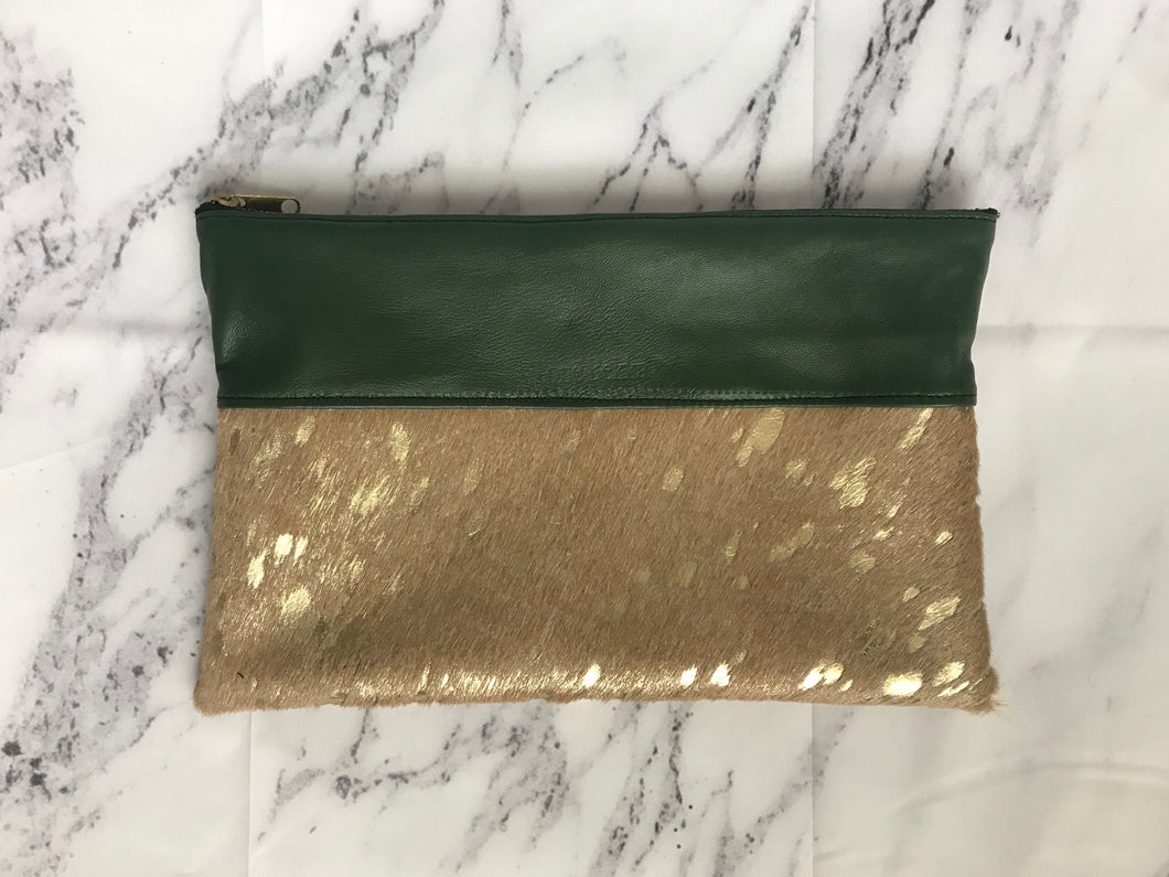 Acid Gold Calfhair Clutch